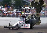 Aug 16, 2014; Brainerd, MN, USA; NHRA top fuel dragster driver Antron Brown during qualifying for the Lucas Oil Nationals at Brainerd International Raceway. Mandatory Credit: Mark J. Rebilas-USA TODAY Sports