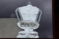 Harwich tin foil FA Cup in the bar window during Ilford vs Harwich & Parkeston, Emirates FA Cup Football at Cricklefields Stadium on 10th August 2019