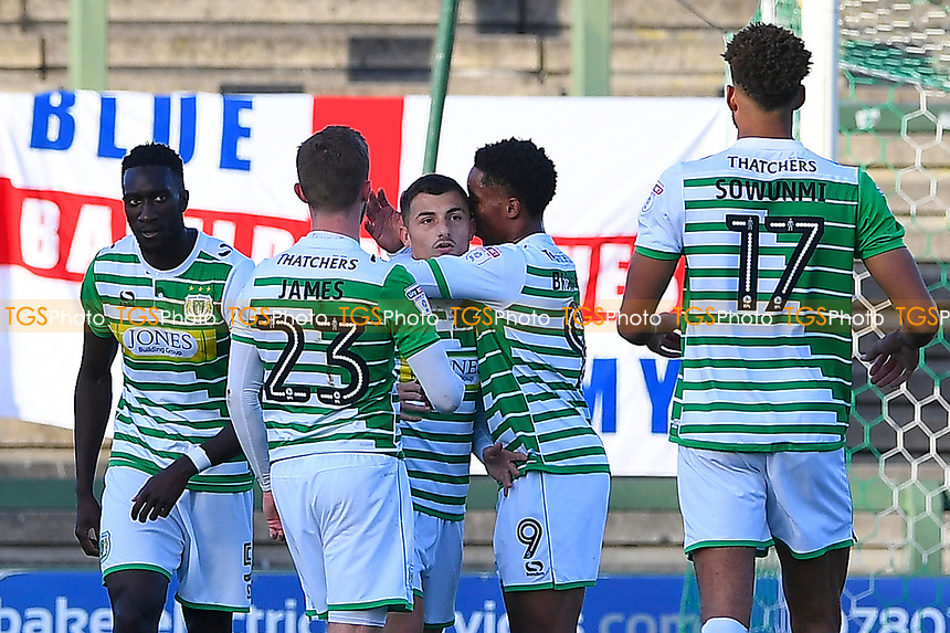 Otis Khan of Yeovil Town is congratulated after scoring from the penalty spot during Yeovil Town vs Southend United, Emirates FA Cup Football at Huish Park on 4th November 2017