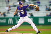 LSU Tigers pitcher Ryan Eades #37 delivers a pitch to the plate against the Auburn Tigers in the NCAA baseball game on March 23, 2013 at Alex Box Stadium in Baton Rouge, Louisiana. LSU defeated Auburn 5-1. (Andrew Woolley/Four Seam Images).