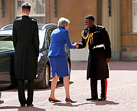 24 July 2019 - London, UK - Theresa May and her husband Philip May are greeted by Rt Hon Edward Young, private secretary to the Queen, Major Nana Twumasi Ankrah, Household Cavalry Regiment, as she arrives at Buckingham Palace in London for an audience with Queen Elizabeth II to formally resign as Prime Minister. Photo Credit: ALPR/AdMEdia