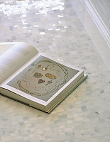 Mini Versailles in Calacatta Radiance Polished.  Molding: Base in Paperwhite Polished.
