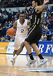 December 19, 2016:  Air Force guard, CJ Siples #2, near the top of the key during the NCAA basketball game between the University of Colorado Buffaloes and the Air Force Academy Falcons, Clune Arena, U.S. Air Force Academy, Colorado Springs, Colorado.  Colorado defeats Air Force 75-68.