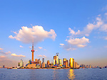 Wide angle view of Shanghai, China skyline.