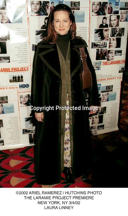 ©2002 ARIEL RAMEREZ / HUTCHINS PHOTO.THE LARAMIE PROJECT PREMIERE.NEW YORK, NY 3/4/02.LAURA LINNEY