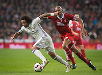Real Madrid´s Brazilian defense Marcelo and Sevilla´s N´Zonzi during the Copa del Rey soccer match between Real Madrid and Sevilla played at the Santiago Bernabéu stadium in Madrid, on January 4th 2017.