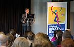 DEN HAAG - Toernooidirecteur Heleen Welschen. de Vrijwilligers voor het World Cup Hockey 2014 kwamen zaterdag in het Kyocera voetbalstadion voor het eerst bijeen. FOTO KOEN SUYK