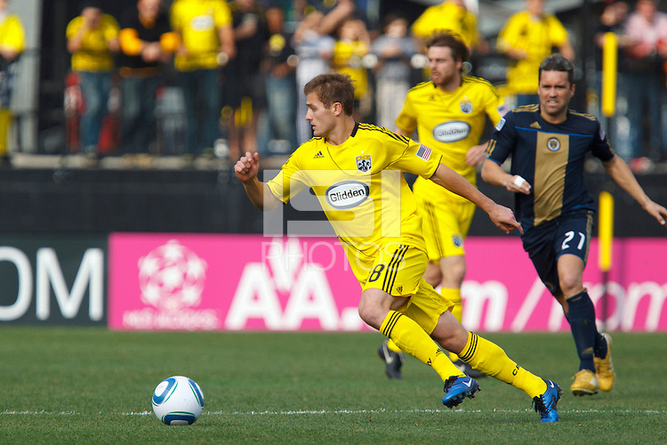 24 OCTOBER 2010:  Columbus Crew midfielder/forward Robbie Rogers (18) during MLS soccer game against the Philadelphia Union at Crew Stadium in Columbus, Ohio on August 28, 2010.
