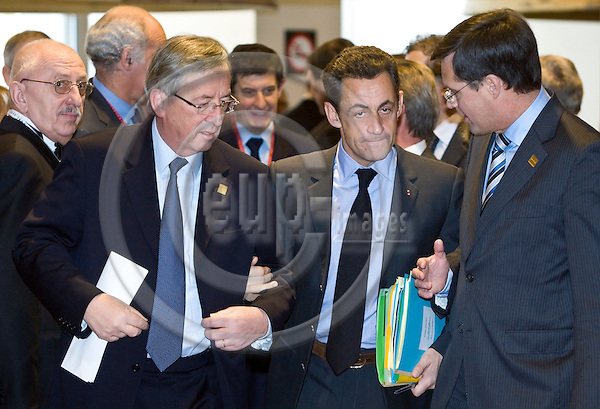BRUSSELS - BELGIUM - 14 DECEMBER 2007 -- EU Summit with Head of Stares hosted by the Portuguese Presidency. -- Jean-Claude JUNCKER (Le), Prime Minister of Luxembourg with Nicolas SARKOZY, President of France Jan Peter BALKENENDE Prime Minister of Netherlands. -- PHOTO: Juha ROININEN / EUP-IMAGES