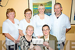 Eileen Whelan pictured here front left presenting a cheque for EUR2010 to Noreen Donnelly (Matron St Anne's Hospital Cahersiveen) for the Cahersiveen Community Hospice, back l-r; Catherine O'Sullivan, Mary Fenton, Ashling McCarthy & Joe O'Shea.  The money was raised by selling lines and a Halloween fancy dress party night in the Bridge Bar Portmagee. Eileen wishes to thank all those who sponsored and helped in any way.