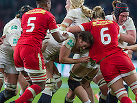 Sarah Hunter carrying the ball in a maul which results in the ball being passed to Amy Cokayne who scores a try, England Women v Canada Women in an Old Mutual Wealth Series, Autumn International match at Twickenham Stadium, London, England, on 26th November 2016. Full time score 39-6