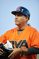 Richmond Flying Squirrels coach Gary Davenport (12) during a game against the Trenton Thunder on May 11, 2018 at The Diamond in Richmond, Virginia.  Richmond defeated Trenton 6-1.  (Mike Janes/Four Seam Images)