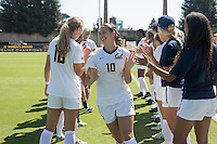 BERKELEY, CA - Sept 16th, 2016: Arielle Ship is introduced before the game. Cal Women's Soccer played the University of San Francisco on Goldman Field at Edwards Stadium.