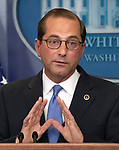 United States Secretary of Health and Human Services Alex Azar briefs reporters on US President Donald J. Trump's blueprint to lower drug prices in the Brady PressBriefing Room of the White House in Washington, DC on Friday, May 11, 2018.<br /> Credit: Ron Sachs / CNP | usage worldwide