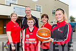 Labhaoise Walmsley launched the St Marys BC Hoops 4 Hospice A 12hr basketball marathon in memory of her late mother Joanne Walmsley  which will be held in Castleisland on October 12th l-r: Reidin O'Loughlin, Maurice CAsey, Liz Galwey
