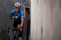 Senne Leysen (BEL/Veranda's Willems Crelan) returning to the teambus through a small alley behind the finish zone after the race. <br /> <br /> Binckbank Tour 2018 (UCI World Tour)<br /> Stage 7: Lac de l'eau d'heure (BE) - Geraardsbergen (BE) 212.7km
