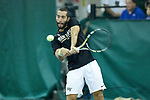 Petros Chrysochos of the Wake Forest Demon Deacons returns the ball during the finals of the 2018 NCAA Men's Tennis Singles Championship at the Wake Forest Indoor Tennis Center on May 28, 2018 in Winston-Salem, North Carolina.  Petros Chrysochos defeated teammate Borna Gojo 6-3 6-3.  (Brian Westerholt/Sports On Film)