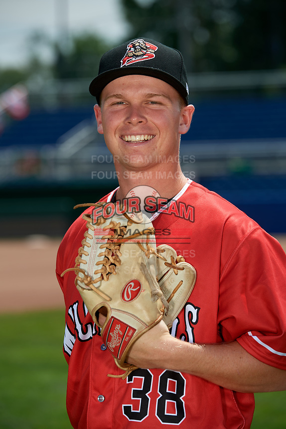 Batavia Muckdogs pitcher Zach Wolf (38) poses for a photo on July 2, 2018 at Dwyer Stadium in Batavia, New York.  (Mike Janes/Four Seam Images)