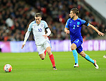 England's Jamie Vardy tussles with Netherland's Joel Veltman during the International friendly match at Wembley.  Photo credit should read: David Klein/Sportimage