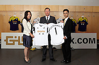 Pictured: <br /> Re: Official launch of the 2013-2014 Swansea City Football Club kit launch, with sponsors Goldenway GWFX at the Liberty Stadium, Swansea, south Wales. Friday 28th of June 2013