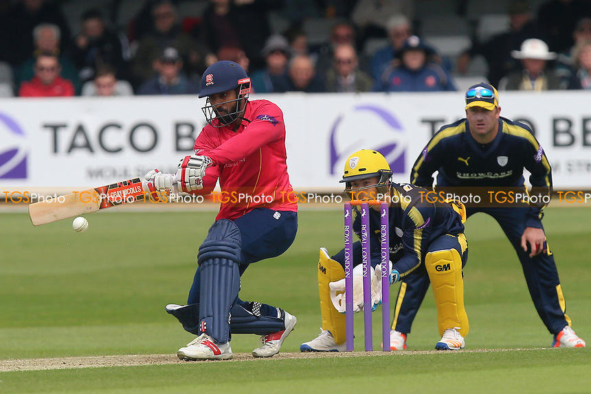 Varun Chopra in batting action for Essex as Lewis McManus looks on from behind the stumps during Essex Eagles vs Hampshire, Royal London One-Day Cup Cricket at The Cloudfm County Ground on 30th April 2017