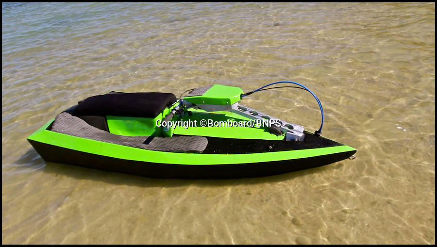 BNPS.co.uk (01202 558833)<br /> Pic: Bomboard/BNPS<br /> <br /> ***Please use full byline***<br /> <br /> The jetski.<br /> <br /> This nifty jetski is set to make a splash - because it is the first in the world that can be dismantled and packed into a car boot.<br /> <br /> The clever contraption, called the Bomboard, is made up of four parts which snap together in 60 seconds to make a machine capable of blistering speeds of over 40mph over the water.<br /> <br /> And where normal jetskis can set buyers back up to £ 15,000, the BomBoard costs just £2,000.<br /> <br /> The budget jetski is the first in the world that can be taken apart and transported in the boot of a car, eliminating the need for a trailer.<br /> <br /> It is the brainchild of John West, a watersports enthusiast and entrepreneur from Chicago who was determined to make jetskiing more accessible.<br /> <br /> The BomBoard is due to hit the water in 2015.