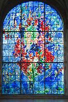 France, Lorraine, Moselle (57), Sarrebourg, chapelle des Cordeliers, vitrail , La Paix, par Marc Chagall, (attention droit demandés par l'ADAGP) // France, Lorraine, Moselle, Sarrebourg, chapel of Cordeliers, stained glass la Paix (Peace) by Marc Chagall (attention right requested by the ADAGP)