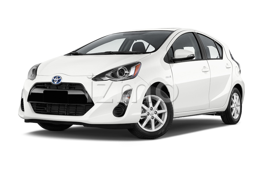 Stock pictures of low aggressive front three quarter view of a 2015 Toyota Prius c Three 5 Door Hatchback Low Aggressive