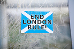 Scottish Independence poster sticker saying 'End London Rule', Barra, Outer Hebrides, Scotland, UK