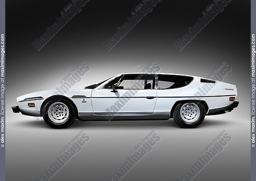 1968 light blue Lamborghini Espada retro super car. Isolated with clipping path.
