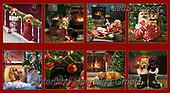 GIORDANO, GIFT WRAPS, GESCHENKPAPIER, PAPEL DE REGALO, Christmas Santa, Snowman, Weihnachtsmänner, Schneemänner, Papá Noel, muñecos de nieve, paintings+++++Giordano Fireside Pups Block,USGIPROV24,#gp#,#x#