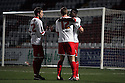 Don Cowan (r) of Stevenage is congratulated. - Stevenage v Leyton Orient - npower League 1 - Lamex Stadium, Stevenage - 2nd January 2012  .© Kevin Coleman 2012.