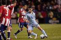 Sporting Kansas City midfielder Milos Stojcev (88) moving with the ball. Sporting KC defeated CD Chivas USA 3-2 at Home Depot Center stadium in Carson, California on Saturday March 19, 2011...