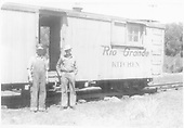 D&amp;RGW employees hostling in Chama, NM.   This may be outfit car #04013.<br /> D&amp;RGW  Chama, NM  1951