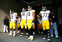 Cody Wallace #72, Alejandro Villanueva #78, Ramon Foster, and Marcus Gilbert #77 of the Pittsburgh Steelers wait to take the field against the Cincinnati Bengals during the game at Paul Brown Stadium on December 12, 2015 in Cincinnati, Ohio. (Photo by Jared Wickerham/DKPittsburghSports)