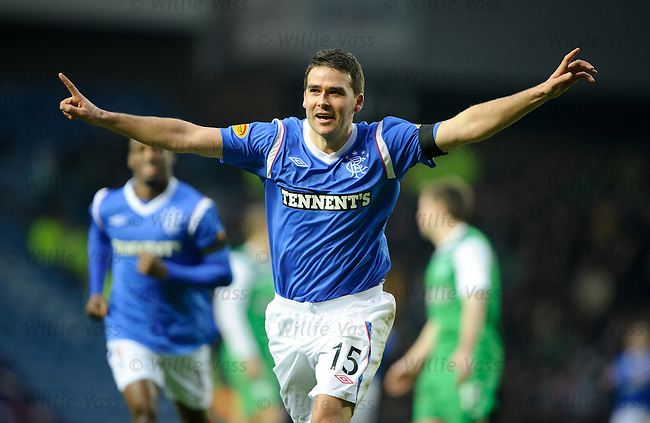 David Healy celebrates his goal for Rangers as he tries to fill the void left by Nikica Jelavic
