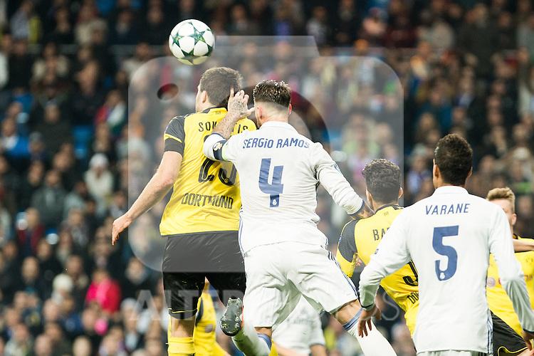 Real Madrid's Sergio Ramos , Borussia Dortmund Sokratis Papastathoppulos during Champions League match between Real Madrid and Borussia Dortmund  at Santiago Bernabeu Stadium in Madrid , Spain. December 07, 2016. (ALTERPHOTOS/Rodrigo Jimenez)