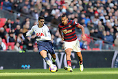 2nd February 2019, Wembley Stadium, London England; EPL Premier League football, Tottenham Hotspur versus Newcastle United; Erik Lamela of Tottenham Hotspur competes for the ball with Jose Salomon Rondon of Newcastle United