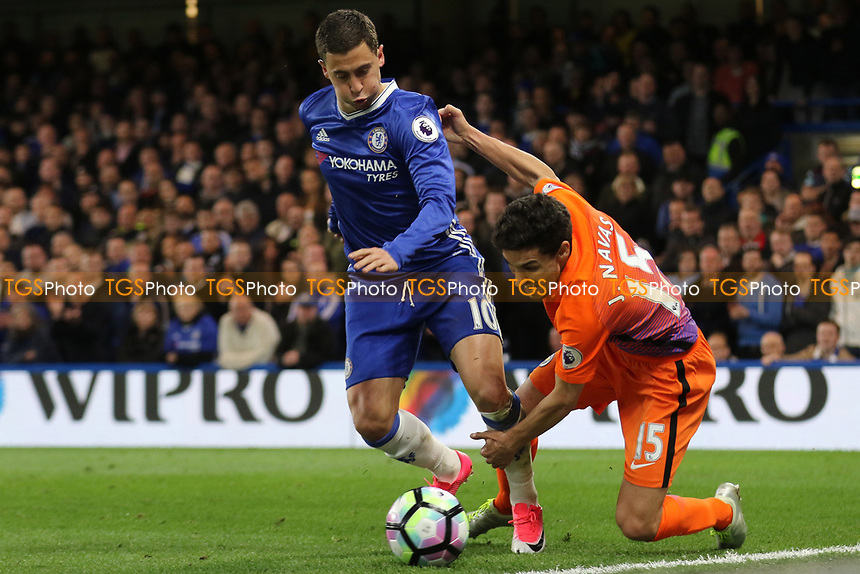 Eden Hazard of Chelsea shakes off a challenge from Manchester City's Jesus Navas during Chelsea vs Manchester City, Premier League Football at Stamford Bridge on 5th April 2017