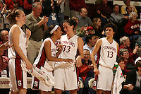 23 February 2006: Kristen Newlin, Rosalyn Gold-Onwude, Jillian Harmon and Cissy Pierce during Stanford's 100-69 win over the Washington Huskies at Maples Pavilion in Stanford, CA.