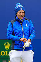 Carlota Ciganda of Team Europe on the 1st tee during Day 3 Singles at the Solheim Cup 2019, Gleneagles Golf CLub, Auchterarder, Perthshire, Scotland. 15/09/2019.<br /> Picture Thos Caffrey / Golffile.ie<br /> <br /> All photo usage must carry mandatory copyright credit (© Golffile | Thos Caffrey)