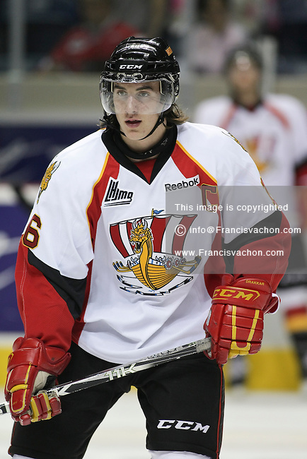 QMJHL (LHJMQ) hockey profile photo on Baie-Comeau Drakkar Felix Girard October 8, 2011 at the Colisee Pepsi in Quebec city.
