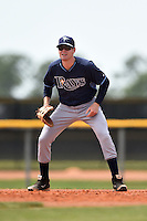 Tampa Bay Rays minor league first baseman John Alexander (49) during an extended spring training game against the Boston Red Sox on April 16, 2014 at Charlotte Sports Park in Port Charlotte, Florida.  (Mike Janes/Four Seam Images)