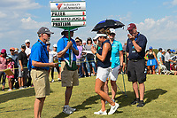 Gerina Piller (USA) autographs a ball for her sign bearer following round 4 of the Volunteers of America Texas Classic, the Old American Golf Club, The Colony, Texas, USA. 10/6/2019.<br /> Picture: Golffile | Ken Murray<br /> <br /> <br /> All photo usage must carry mandatory copyright credit (© Golffile | Ken Murray)