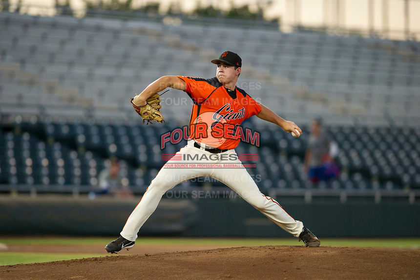 AZL Giants starting pitcher Seth Corry (63) delivers a pitch to the plate against the AZL Rangers on August 22 at Scottsdale Stadium in Scottsdale, Arizona. AZL Rangers defeated the AZL Giants 7-5. (Zachary Lucy/Four Seam Images via AP Images)