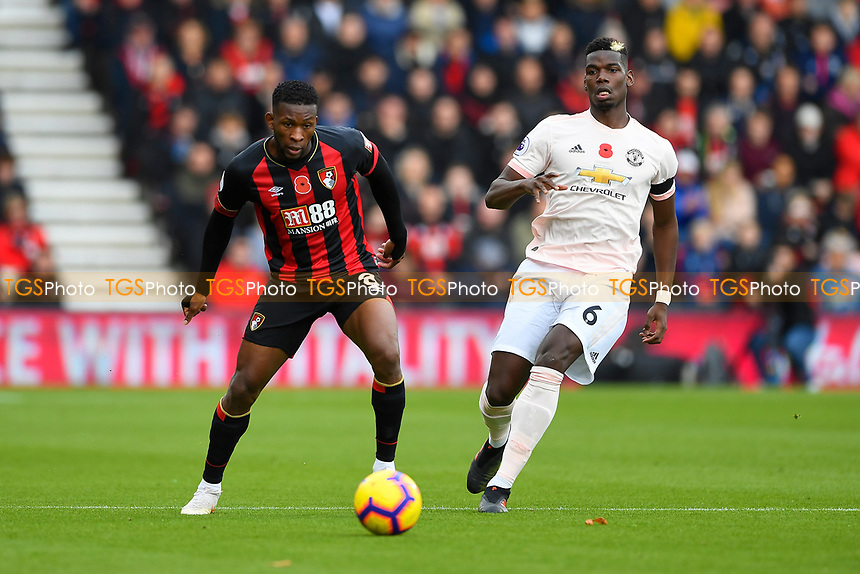 Jefferson Lerma of AFC Bournemouth makes a pass under pressure from Paul Pogba of Manchester United during AFC Bournemouth vs Manchester United, Premier League Football at the Vitality Stadium on 3rd November 2018