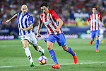 Deportivo Alaves's Gaizka Toquero Atletico de Madrid's Tiago Mendes during the match of La Liga Santander between Atletico de Madrid and Deportivo Alaves at Vicente Calderon Stadium. August 21, 2016. (ALTERPHOTOS/Rodrigo Jimenez)