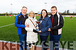 The family of the late Timmy O'Brien holding the Memorial Cup in his name at the soccer game in the KDL on Saturday. L to r: Tim and Mary O'Brien with Gillian O'Brien Loughnane and Liam Loughnane