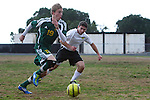 Palos Verdes, CA 02/07/12 - Sam Teles (Peninsula #13) in action during the Mira Costa vs Peninsula Boys Varsity soccer bay league game.