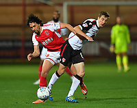 Fleetwood Town's Markus Schwabl battles with Morecambe's Andrew Fleming<br /> <br /> Photographer Dave Howarth/CameraSport<br /> <br /> EFL Checkatrade Trophy - Northern Section Group A - Fleetwood Town v Morecambe - Tuesday 3rd October 2017 - Highbury Stadium - Fleetwood<br />  <br /> World Copyright &copy; 2018 CameraSport. All rights reserved. 43 Linden Ave. Countesthorpe. Leicester. England. LE8 5PG - Tel: +44 (0) 116 277 4147 - admin@camerasport.com - www.camerasport.com